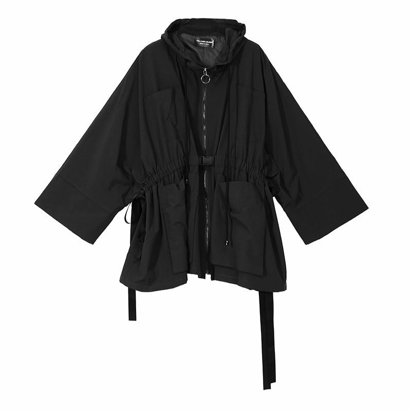 Capuche Des Lâche Élastique Mode Noir Vert Veste Taille 2018 Avec Hiver vert Chapeau Rue Femelle De Automne Noir Femmes Dames La Couleur Manteau À 7n1qS8