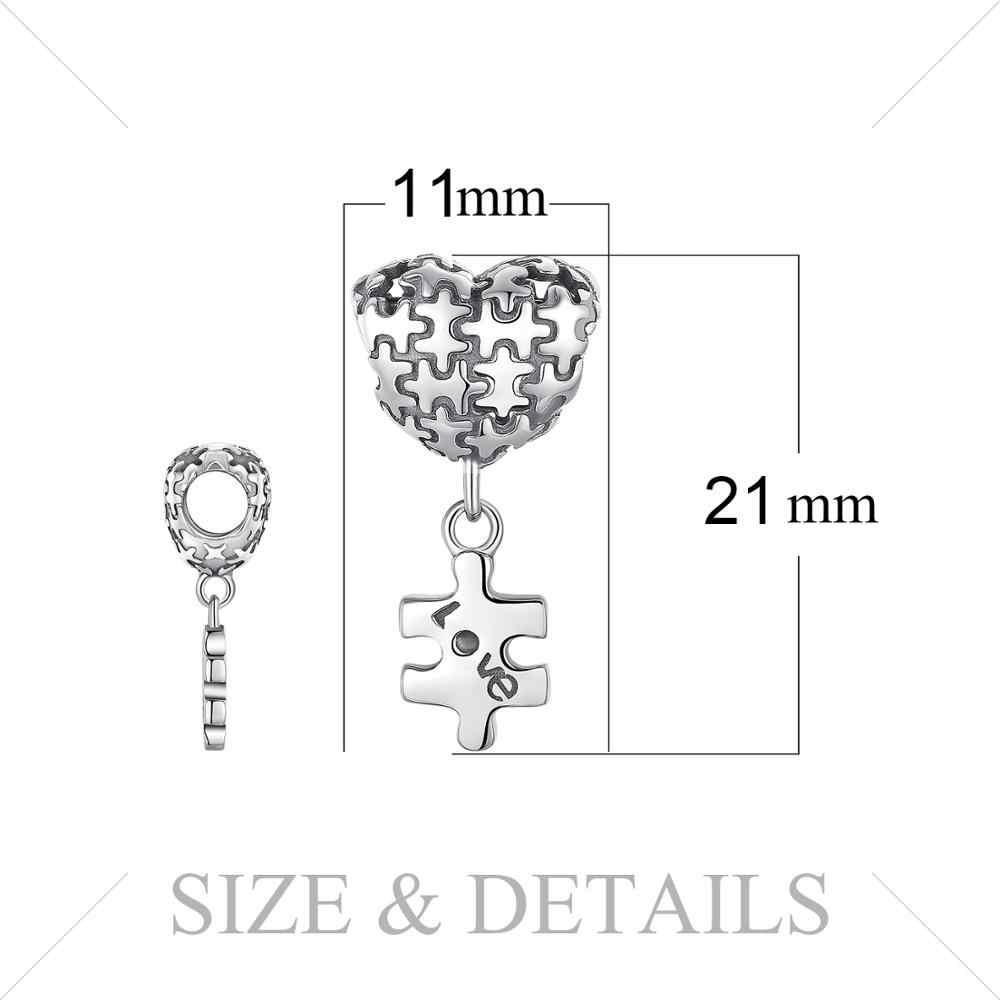 JewelryPalace Puzzle Di Puzzle 925 Sterling Silver Beads Pendenti e Ciondoli Argento 925 Originale Per Il Braccialetto In Argento 925 originale Monili Che Fanno