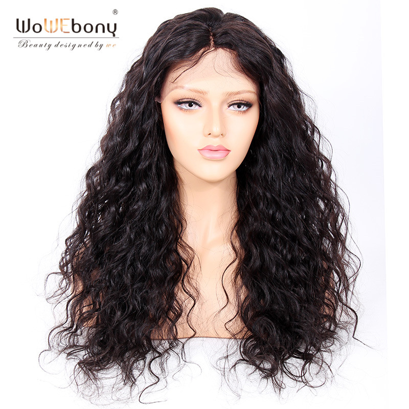 WoWEbony 250% High Density Bouncy Curly Human Hair Lace Frontal Wigs For Black Women Pre-plucked Hairline