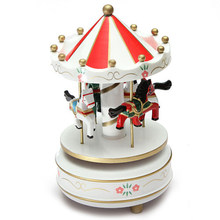 Best Musical carousel horse wooden carousel music box toy child baby White game(China)