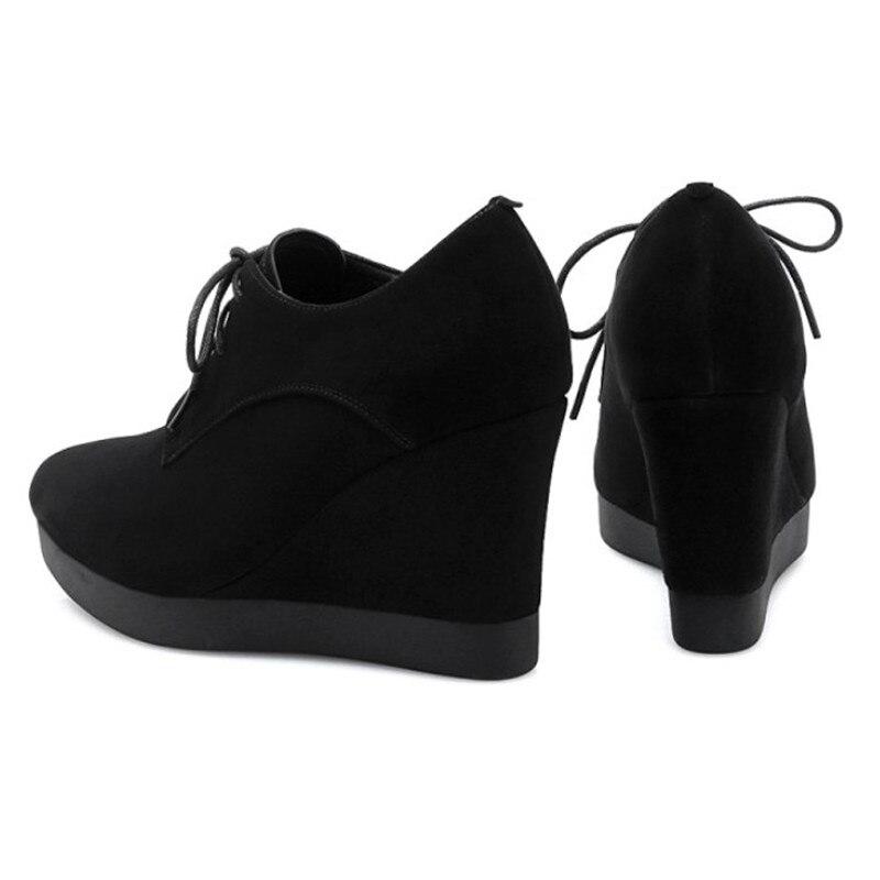 2019 새로운 도착 웨지 신발 여성 하이힐 지적 발가락 검은 신발 스웨이드 가죽 플랫폼 신발 여자 펌프 높은 quanlity-에서여성용 펌프부터 신발 의  그룹 2
