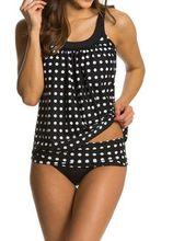 Консервативной купальник платье Для женщин в горошек из двух частей пляж купальники ремень узор юбка ванный комплект Push Up платье Пляжная одежда