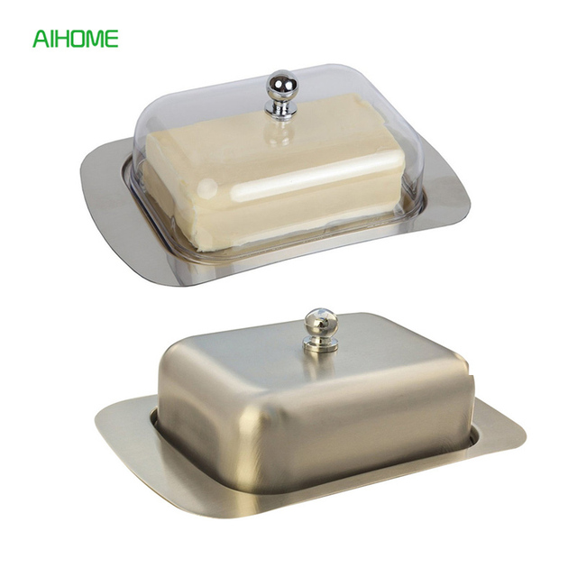 Stainless Steel Butter Dish Cheese Plate With Lid Cheese Container Server  Cake Storage Tray Dinnerware