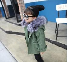 2016 Winter new children's clothing boys and girls ArmyGreen fashion hooded windbreaker children plus velvet complex coat