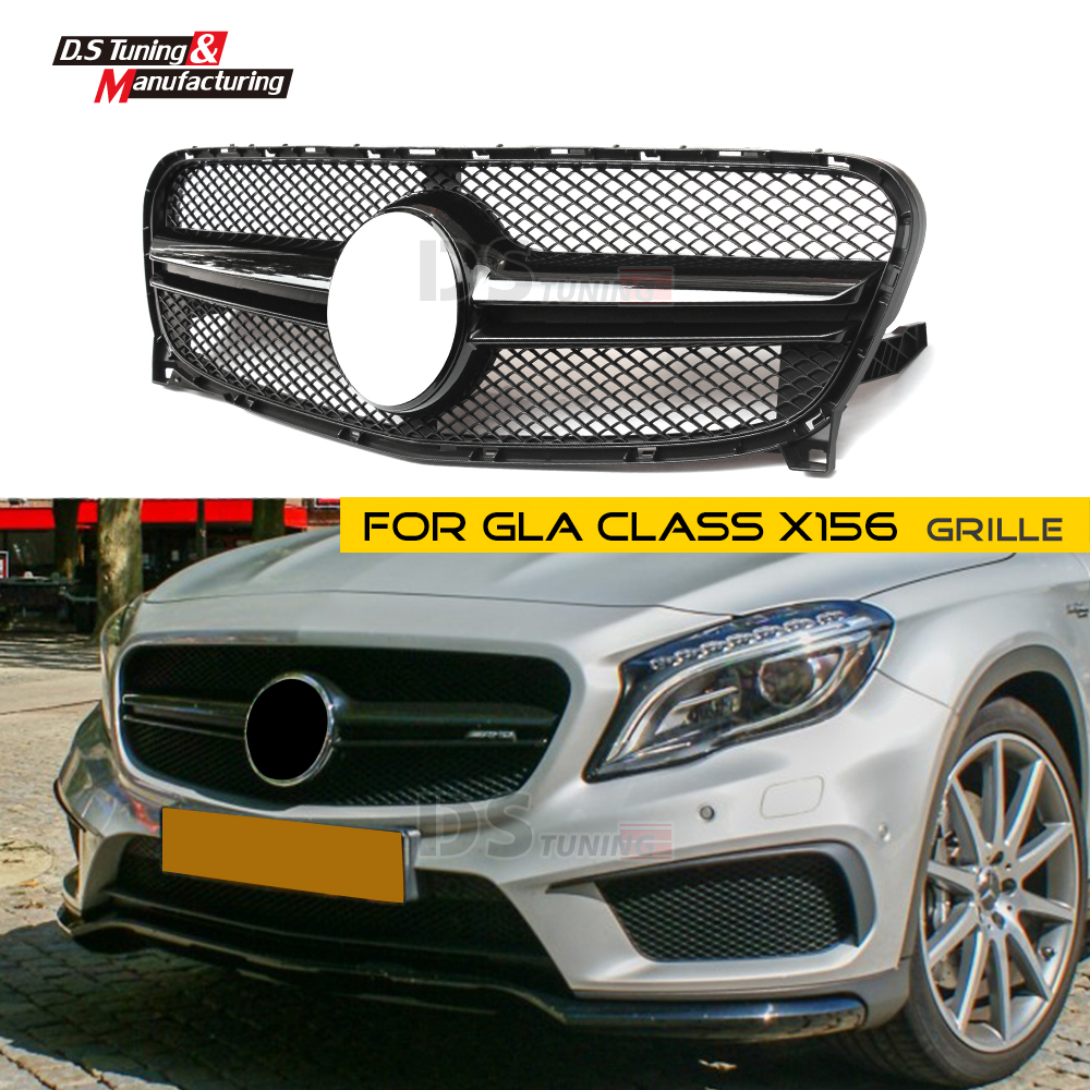 Front Grille for Benz X156 GLA Class Mesh Grille ABS Material GLA45 GLA180 GLA200 GLA250 2014 2015 2016 in Racing Grills from Automobiles Motorcycles