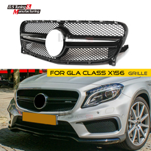цена на Front Grille for Benz X156 GLA Class Mesh Grille ABS Material GLA45 GLA180 GLA200 GLA250 2014 2015 2016