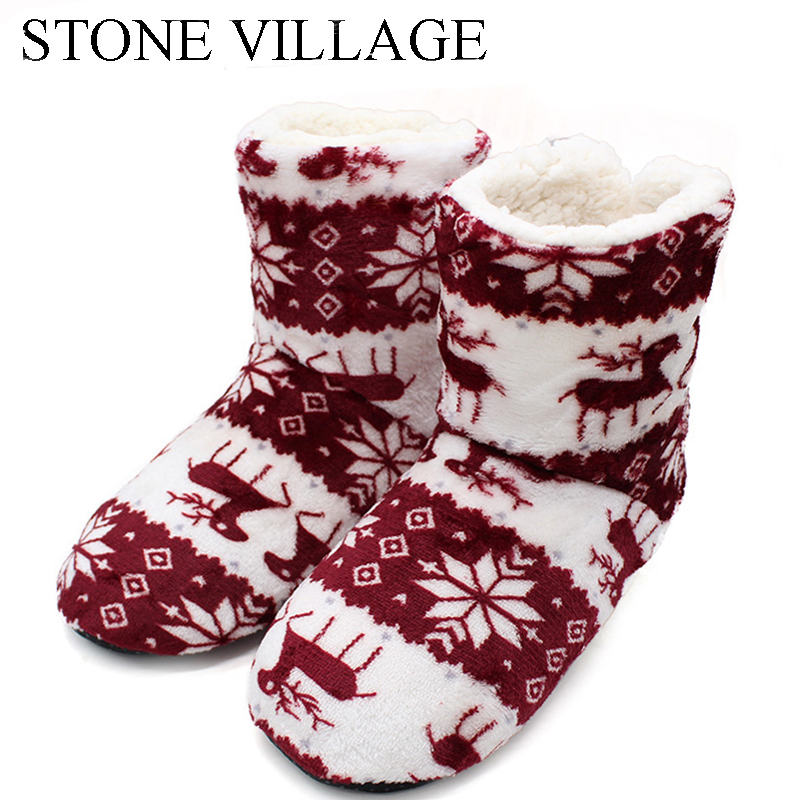 Winter Coral Fleece Indoor Slippers Women Plush Lining Warm Home Slippers Christmas Fawn Print Slippers Shoes Contton Slippers