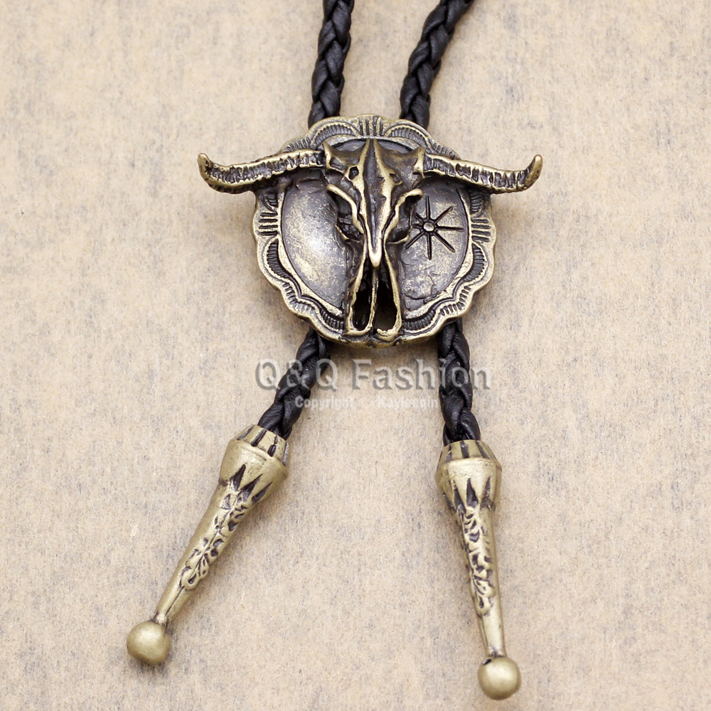 New Arrial Western Southwest Longhorn Steer Cow Skull Shield Leather Rodeo Bola Bolo Neck Tie Top Fashion 2 Colors