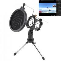 Tripé removível do suporte do microfone do metal com a cremalheira do vento do microfone para a reunião/canto/fala