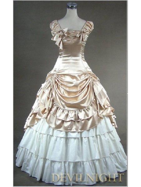 Robes de bal victoriennes gothiques manches Champagne classiques robe Lolita