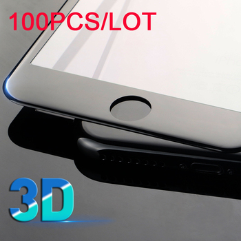 100PCS/LOT For Iphone X 8 7 7 Plus 6s 6 Plus 3D Full Cover Screen Protector Real Tempered Glass Film For Iphone X 8 7 6 Plus