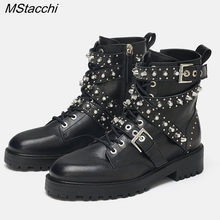 MStacchi New Women Rivet Boots Genuine Leather Boots Pearl Woman Shoes Casual Buckle Boots Shoes Woman Ankle Boots Botas Mujer(China)