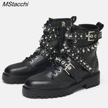 MStacchi New Women Rivet Boots Genuine Leather Boots Pearl W