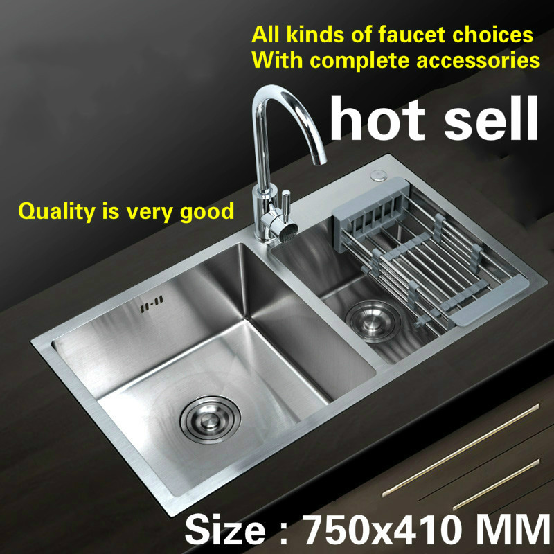 Free Shipping Hand Made Stainless Steel Household Kitchen Sink Durable Double Groove Hot Sell 750x410 MM