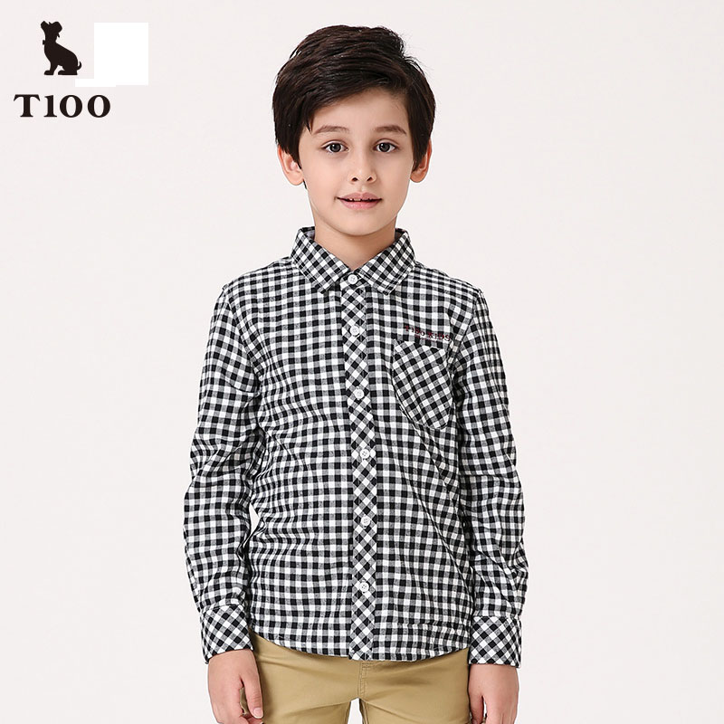 T100 Shirts For boys Black And White Plaid Long Sleeve Shirt Boy Cotton School Blouse Autumn Casual Kids Blouse Children Clothes