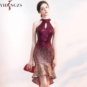 Image 1 - YIDINGZS Halter elegancka cekinowa sukienka na studniówkę z krótszym przodem długi powrót Sparkle suknia wieczorowa YD661