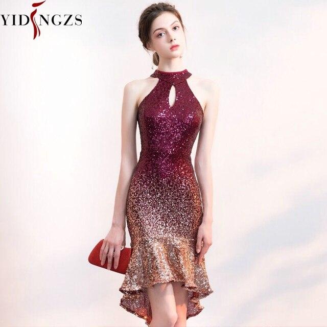YIDINGZS Halter elegancka cekinowa sukienka na studniówkę z krótszym przodem długi powrót Sparkle suknia wieczorowa YD661