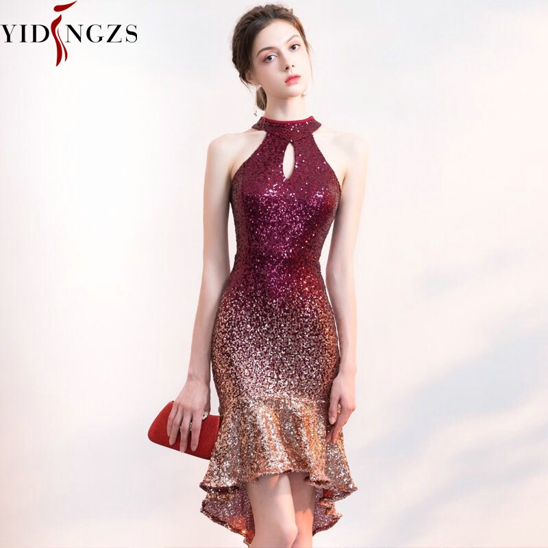 YIDINGZS New Women Halter Elegant Sequin   Prom     Dress   Short Front Long Back Sparkle Party   Dress