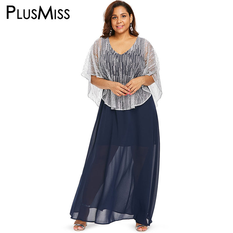 01aca3075f2 PlusMiss Plus Size Cloak Sleeve Cape Chiffon Maxi Long Dress Women XXXL XXL  Mesh Lace Elegant ...