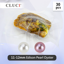 CLUCI 30 Pcs 11 12mm Big Edison Pearls in Oysters Round Single Packaged Genuine Edison Pearl Beads Edison Pearl Oyster WP353SB