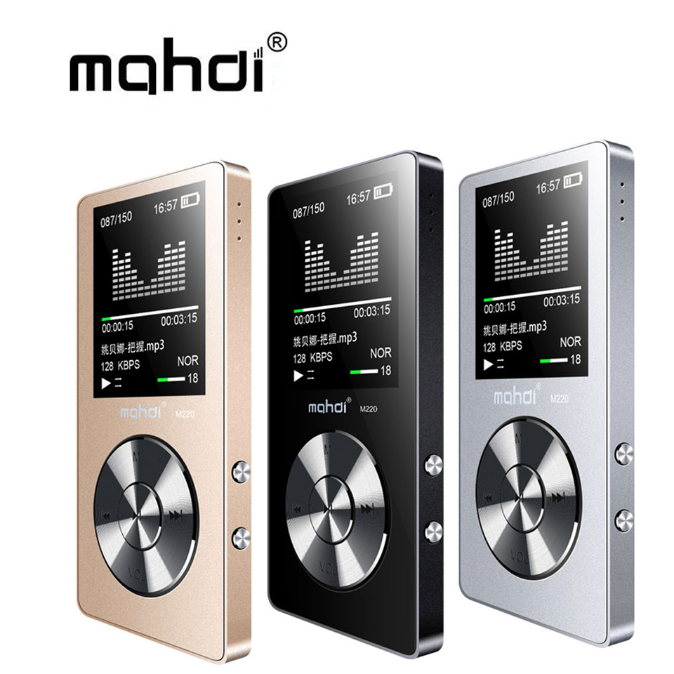 Mahdi M220 Metal MP3 Player Portable Digital Audio Player With 1.8 Inch Screen FM E-Book Clock Data music Player speaker TF Card