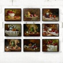 Cuadros Vintage cocina frutas vegetales pintura al óleo sobre lienzo carteles e impresiones arte de pared escandinavo para decoración para sala de estar