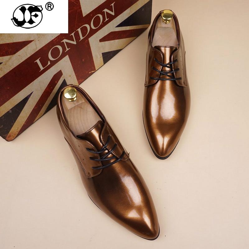 38-48 chaussures en cuir verni hommes Vintage Oxfords pour hommes chaussures habillées hommes formels chaussures bureau à lacets 441
