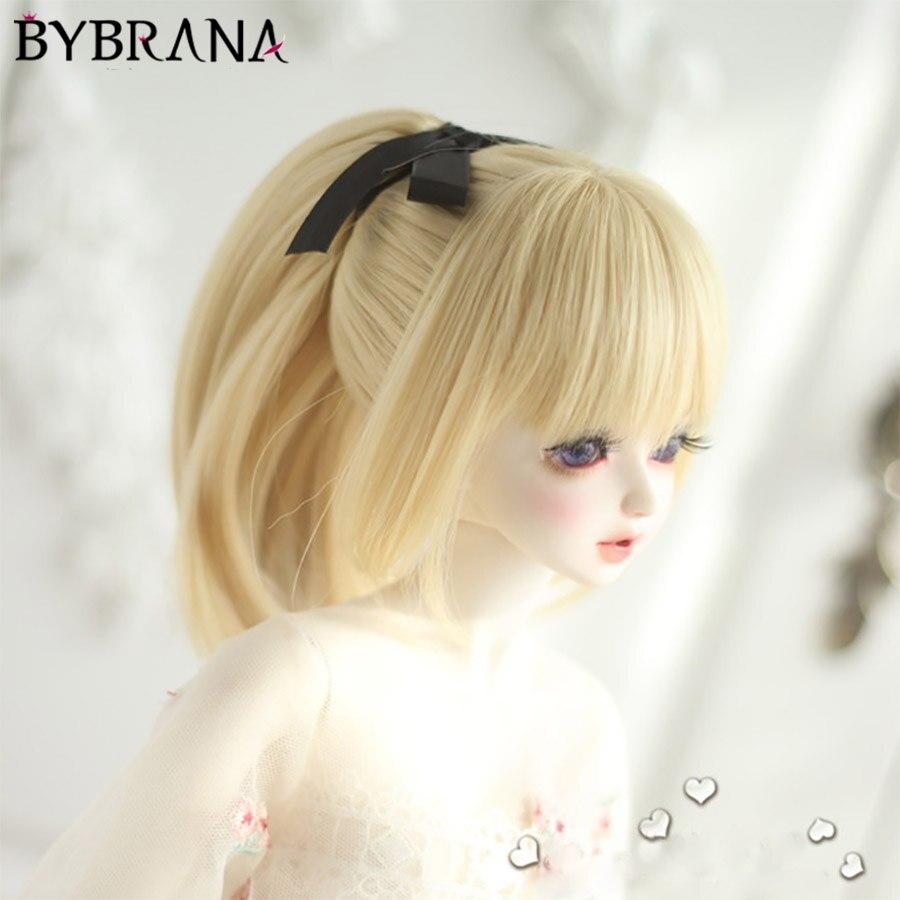Bybrana 1/3 1/4 Bjd Wig High Temperature Fiber Brown Colors Straight Beautiful Dolls Wig For BJD Hair