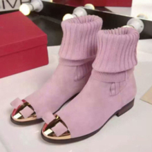 Multiple Choice Women Fashion Flat Warm Boots Winter Solid Unique Stitching Detail Boots Butterfly-knot Decorated Women Shoes