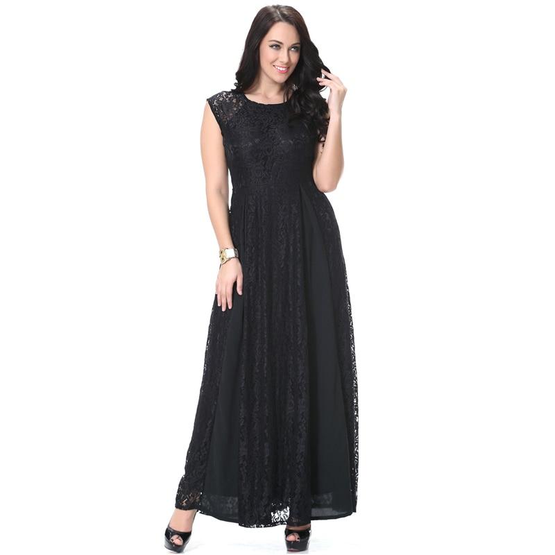 47cda9c199b Maxi 6xl Robe 8xl 5xl Longue Noir Femmes Robes Taille Pour Dentelle  Patchwork Plus 7xl Qualité Grande Vêtements Haute Élégant Noire qCpwOCgz