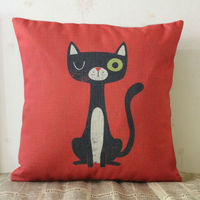 LINKWELL 18 X18 Colorful Cartoon Red Cute Cat Cartoon Burlap Pillow Cover Cushion Case For Children