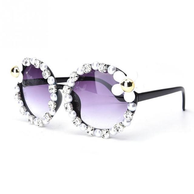 Mulheres da moda óculos de sol Retro óculos de sol Strass para mulheres  handmade Flor Imitação edb57a9680