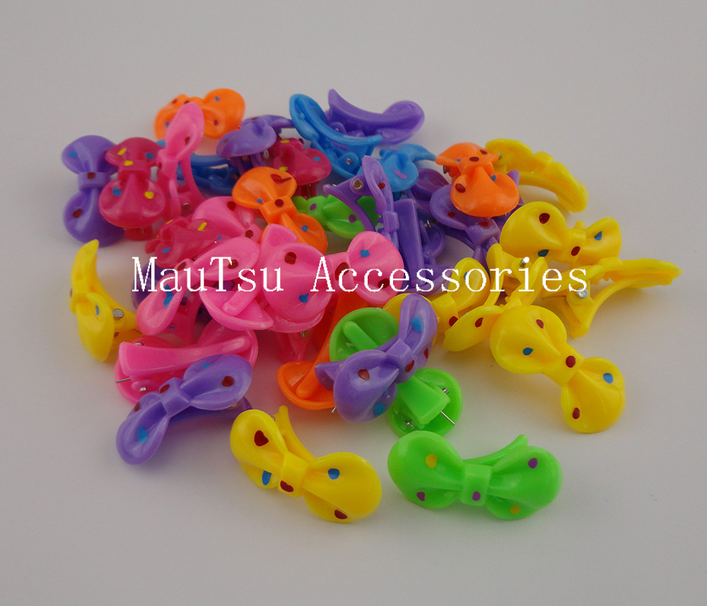 Hair bow button accessories - 50pcs 1 8cm 3 5cm Colorful Polka Dotted Printing Bows Plastic Hair Clips For Kids