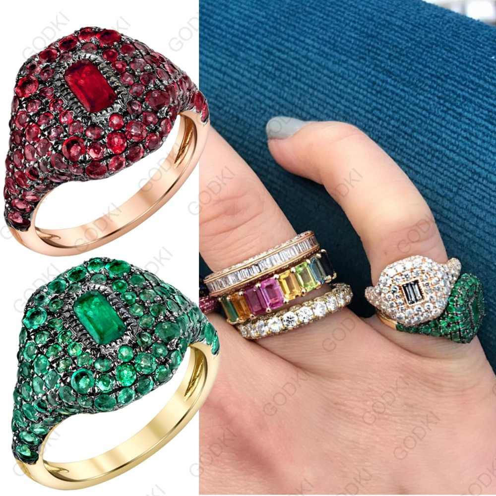GODKI Spring Collection Luxury Stackable Chic Rings For Women Wedding Cubic Zircon Engagement Dubai Bridal Statement Finger Ring