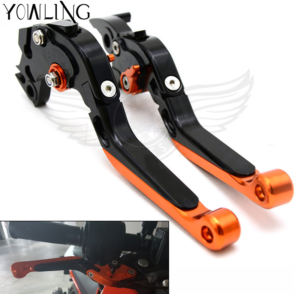 Motorcycle CNC Brake Clutch Levers Adjustable foldable Levers For KTM 690 Duke 2008 2009 210 2011 motorbike Levers handle motorcycle front rider seat leather cover for ktm 125 200 390 duke