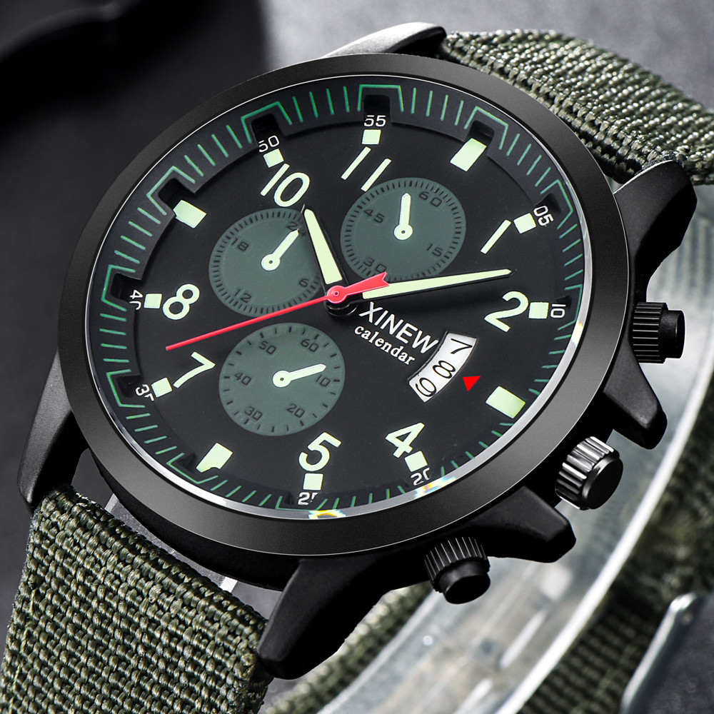 Men's Military Steel Military Date Quartz Analog Army Casual Dress Wrist Watches  Men's Watch Wrist Party Decoration Business W