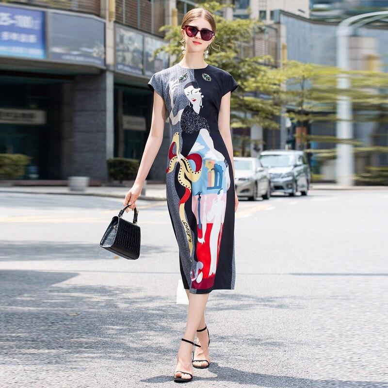 Longue robe piste de haute qualité 2019 été nouvelles femmes de mode fête Sexy bohème plage Vintage élégant Chic imprimer robes de crayon