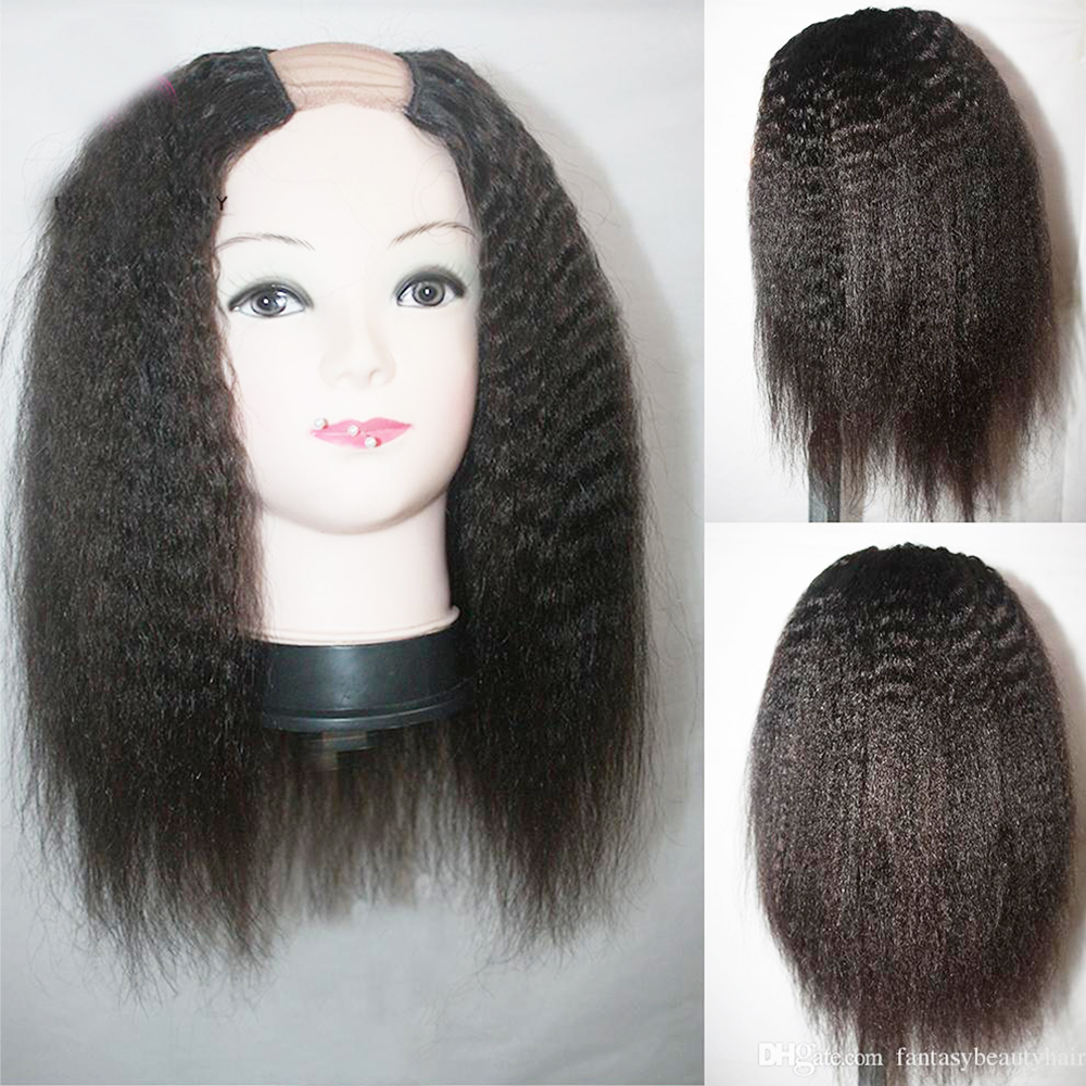 Eversilky 100% Brazilian U Part Wig Kinky Straight Remy Human Hair U Part Wigs With Straps and Combs Coarse Italian Yaki Upart