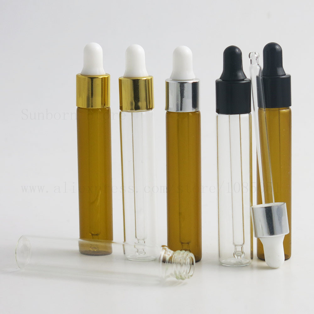 ea6604fbb9b4 24PCS 10ml Empty Clear Amber Refillable Glass Essential Oil Dropper ...