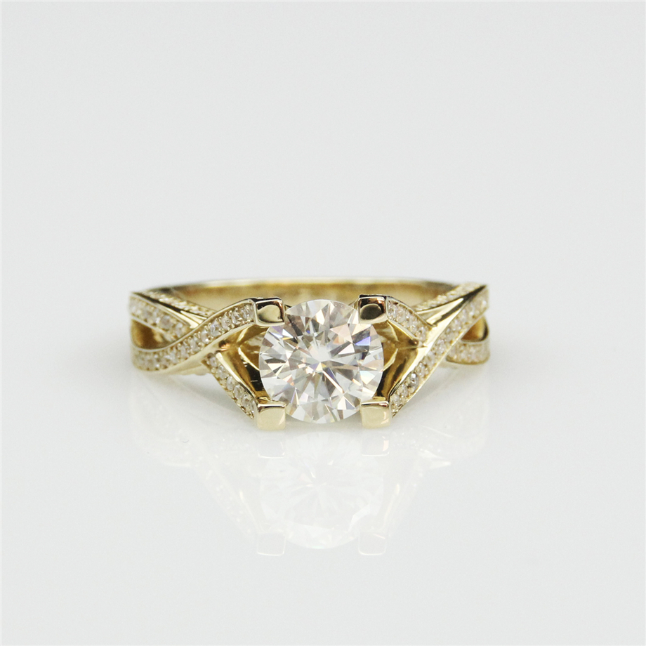 1 carat moissanites 14k yellow gold vintage accents engagement ring lab grown diamond fine jewelry wedding