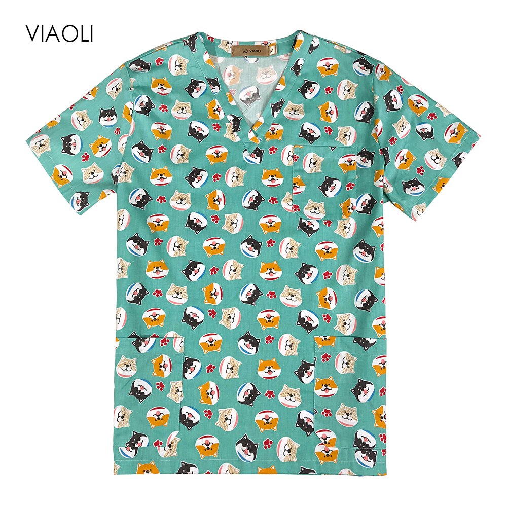 Medical Clothes Cartoon Dog Nursing Uniforms Medical Clothing Dental Clinic Hospital Work Wear Surgical Suit  Surgical Top
