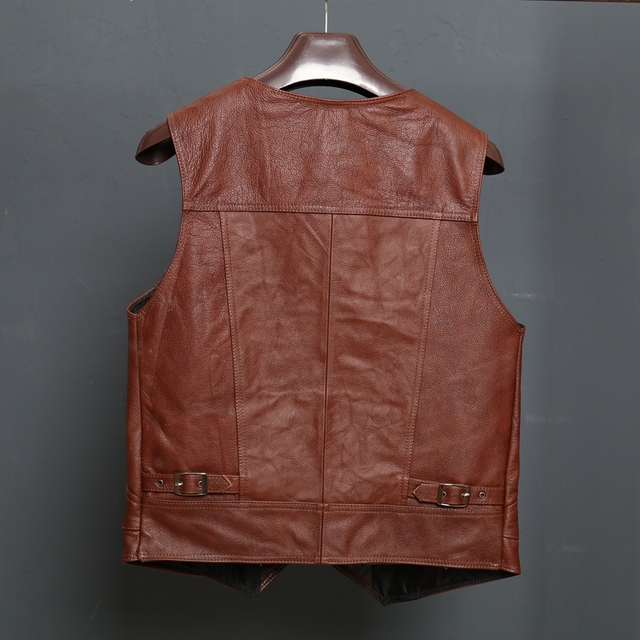 BONJEAN New Arrival Leather Motorcycle Vest Mens Slim Fit Real Brown Cow Genuine Leather Waistcoat Bikers Vest Size L-8XL