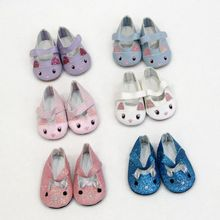 Cute Cat Sports Boots 7cm Shoes Fits 18 inch Doll 43CM  Baby New Born Dolls Reborn Mini For Girl boots