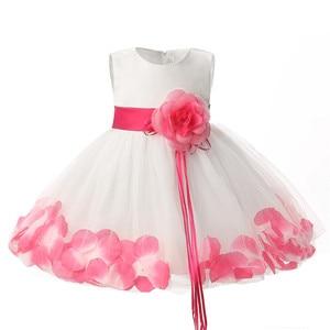 Vestido infantil para festa, vestido para meninas com pétalas para aniversário de 1 ano; roupas para tutu; vestido para menina; vestido de batizado