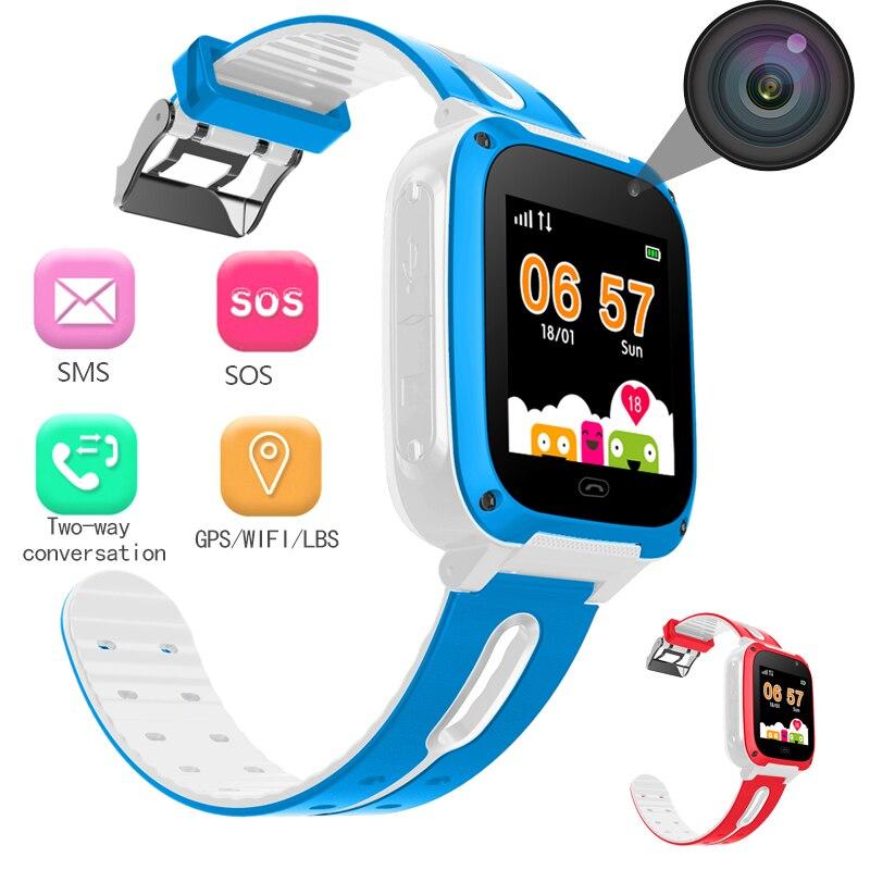 WISHDOIT светодио дный LED Цвет сенсорный экран Детские умные часы LBS позиционирования трекер дети часы SOS безопасности Детские поддержка SIM