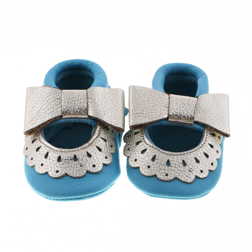 2016 New Kids Shoes Handmade Genuine Leather Gold Bow Baby