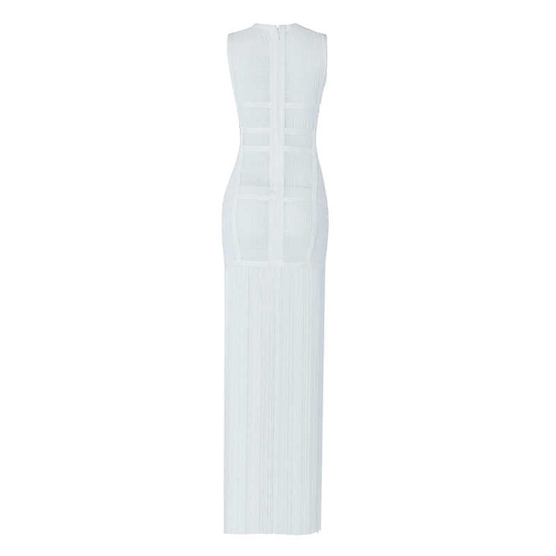 Beateen/2019 новое летнее клетчатое платье без рукавов с круглым вырезом и кисточками для женщин, элегантные вечерние платья с бахромой длиной до щиколотки, облегающее бальное платье белого цвета