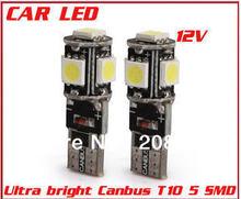Бесплатная Доставка 20 шт./лот T10 Canbus W5W 194 5050 SMD 5 LED Ошибка Бесплатный Белый Свет Лампы ААА