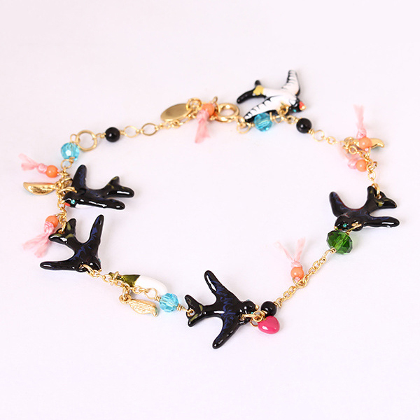 flying swallow gem bead branch elegant all-match enamel bracelets bangles for women party wedding jewelry