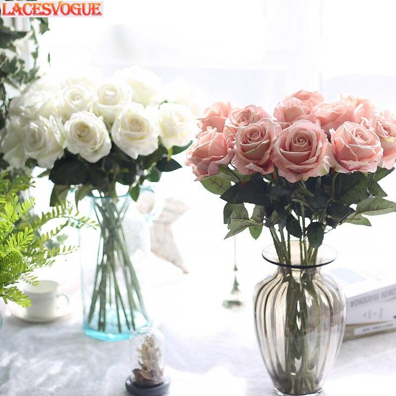 Fleurs artificielles flanelle Rose fleurs faux fleurs plantes artificielles décoration Maison Fleur Artificielle décoration Maison 21 pièces